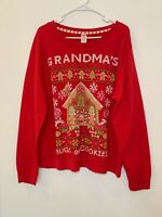 Holiday Time Women's Sweater Red Christmas Long Sleeve Size XL/XG Grandma's #A