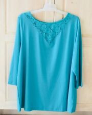 New Romans Aquamarine Top 3/4 Sleeve Lace Insert Size Med. 14/16
