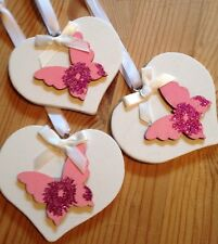 3 X Butterfly Hanging Decorations Shabby Chic Heart Pink White