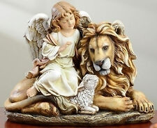 "Joseph's Studio 11.5""H Angel with Lion and Lamb Jesus Christmas Statue # 36936"