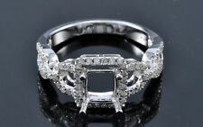 6x6mm Square Princess Cut 14K 585 White Gold Semi Mount Diamond Wedding Ring