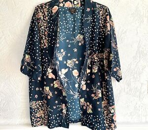 LIPSY LONDON Teal Floral Kimono Beach Coverup Evening Size 18