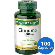 Nature's Bounty, Cinnamon 1000mg, Sugar Metabolism & Heart Health, 100 Capsules
