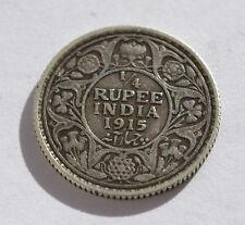 British INDIA 1/4 RUPIA SILVER MONETA 1915 DOT Bombay Nuovo di zecca. Giorgio V re imperatore.