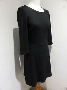 Esprit black textured A line skater dress UK S 10 VGC