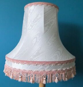 BIG White & Pink Vintage Lampshade With Tassels