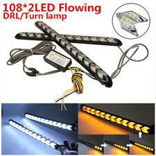 Car Flexible White/Amber Switchback 216 LED Flowing Light Strip DRL &Turn Signal