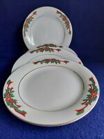 """POINSETTIA AND RIBBONS FINE CHINA 4 CHRISTMAS SALAD PLATES 7 3/8"""" MADE IN CHINA."""