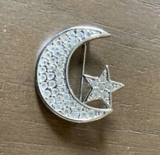 Rhinestone Brooch New Moon and Star Clear Stone Silvertone