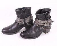 9D Tamaris Damen Stiefeletten Boots Leder schwarz Gr. 37 Blockabsatz Biker Kette