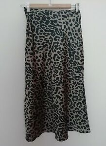ASOS Leopard Print Satin Bias Slip Dress Size UK6