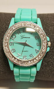 Watch Geneva Blue Silicone Band Blue Case Easy Read Dial New Battery Womens