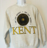vtg Large KENT STATE UNIVERSITY GRAY SWEATSHIRT Embroidered Logo Ohio 1910