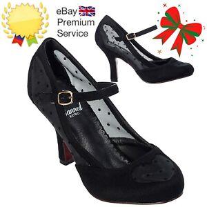 Banned Apparel Elegant Spots Mary Jane 50s Classy Faux Suede Black Pumps Shoes