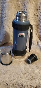 Thermos Work Series Bottle Gun Metal Blue 40 Ounce Thermax Maximum Insulation