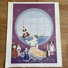 """Vtg. Erte LES POUPEES RUSSES Print Unframed Art Deco Lady 21"""" X 17"""""""