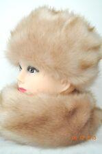 Fur Hat & Scarf Shawl Fluffy premium faux fur Beige Light Brown NEW