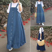 ZANZEA Women Strappy Long Shirt Dress Casual Denim Blue Suspender Skirts Dress