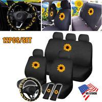 12PCS Sunflower Full Set Car Truck Seat Cover Steering Wheel Cover Shoulder Pads