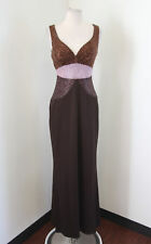 Brown Sequin Beaded Evening Dress Formal Gown Size 4 Bronze Pink Prom Sweetheart