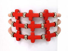 Pink Beads and Crosses Wrap Stretch Bracelet with
