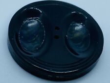 """Antique 19th Century Marbled Navy Blue Celluloid Carved 2-Hole Button (1.5"""")"""