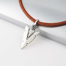 Vintage Silver Alloy Native American Arrow Head Pendant Leather Choker Necklace