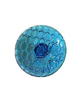Vintage Blue Glass Honey Comb And Bee Hat Pin Stick Pin Large Unique Collectible