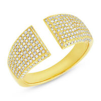 Womens .60CT 14K Yellow Gold Natural Round Diamond Pave Wide Open Statement Ring