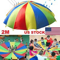 2M Outdoor Game Exercise Sport Toy 8 Handles Kids Play Rainbow Parachute USA NEW
