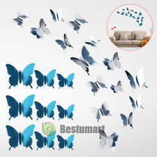 48PCS 3D Mirror Butterfly DIY Art Wall Stickers Home Decal Room Mural Decoration