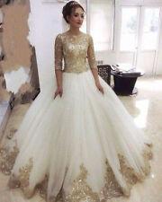 Half Sleeves White and Gold Wedding Dresses Custom Size 2 4 6 8 10 12 14 16 18+