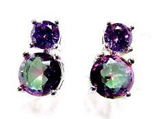 """Sterling 925 Silver SF Earrings 5mm Rainbow Topaz & 3mm Amethyst  3/8"""" Drop"""