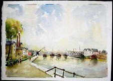 Shipping Canal d'Aubervilliers, Paris, France Original Watercolor