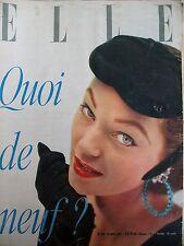 ELLE N° 0403 QUOI DE NEUF ? LES TISSUS ET CHAPEAUX 54 MAGAZINE FEMININ 1953