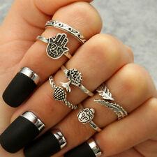 6pcs/set Boho Buddha Tree Of Life Finger Knuckle Band Midi Rings Stacking Ring