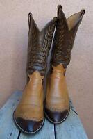 TONY LAMA Mens Cowboy Western Boots Cognac Tan Leather Lizard Wingtip Size 11.5E