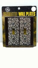Vintage Double Light Switch Plate Cover Brown w/Metal Inlay General Electic SR-4