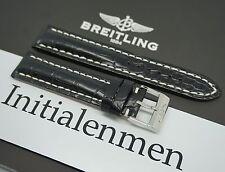 Breitling CROCO black 728P 20/18 strap band 100% ORIGINAL & NEW Tang Buckle