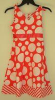 Rare Editions Sleeveless Coral Dress w/ White Polk-a- Dots Girl/ Kid Sz 7 NWT D