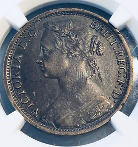 1874 H Great Britain Penny Obverse of 1873, 16 Leaves NGC AU50 BN, Free Shipping