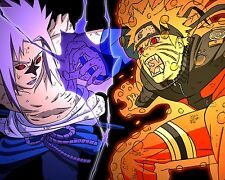 Naruto vs Sasuke Poster Japanese Anime Manga Wall Art Decor 20x16 inches