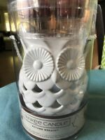 Yankee Candle Autumn Wreath 4 Tea Lights with White Ceramic Owl Luminary New