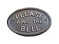 SILVER PLEASE RING THE BELL -HOUSE DOOR PLAQUE SIGN GARDEN - BRAND NEW (BLACK)