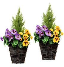 2 x Artificial Patio Planters - PURPLE & YELLOW Pansies & Conifer/Cedar Topiary