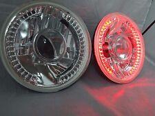 "97-16 Jeep Wrangler TJ JK 7"" LED Halo RED Round Chrome Clear Headlights"