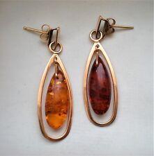 Russian Russia 14K  Rose Pink Gold Baltic Honey Amber Dangle Earrings 3.8 grams