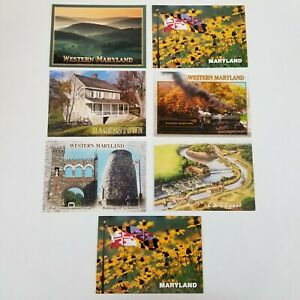 Western Maryland Postcards Lot Of 7 State Flag/Flower Hagerstown C&O Canal