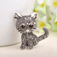 Black Enamel Cartoon Cat Animal Pin Badge Brooch Collar Pins Jewelry Gift S