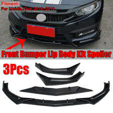 For Honda Civic 2016-2019 Front Bumper Lip Spoiler Protector Cover Trim 3pcs